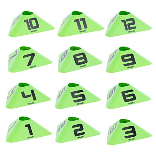 GoSports Modern Sports Cones - 12 Pack with Numbered Cones - Great for Soccer, Basketball, Football and More