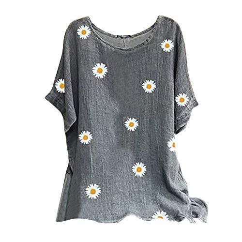 ReooLy Woman Vintage T-Shirts, O-Neck Short Sleeve Floral Print Top Cotton-Blend Blouse(A-Gray,Medium)