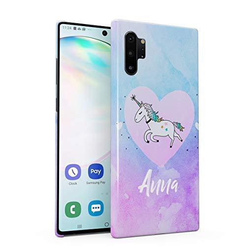 Personalizzato Custodia in Plastica Rigida per Samsung Galaxy Note 10 Plus Custom Name Surname Initials Letter Text Customized Pink Purple Unicorne Rainbow Candy Dream Unicorno Cover Protettiva