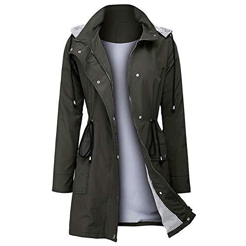 Heinside Damesmode, glanzend sweatshirt, vrijetijdskleding, waterdicht, met capuchon, taille, lange jas, regenjas met trekker, bedrukt