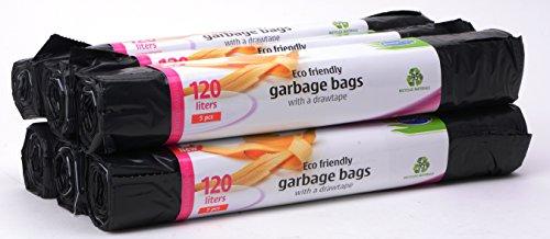 30 Öko Müllbeutel Mit Zugband 120 Liter, 6 Rollen mit 5 Säcken/Müllsäcke/Abfallbeutel/Stella Premium Bags Line