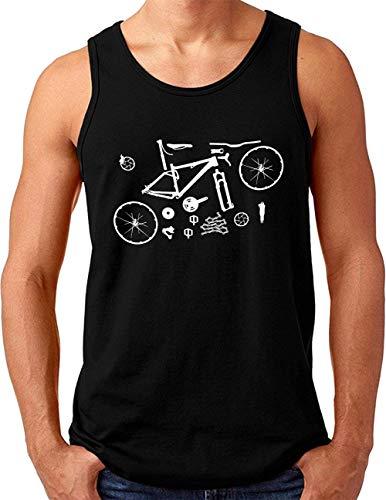 OM3® Mountain-Bike-Parts Tank Top Shirt | Herren | MTB Bicycle Fahrrad Radsport Radfahrer | Schwarz, 4XL