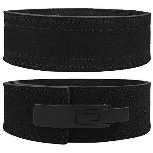 Hawk Sports Lever Belt Black Genuine Leather Powerlifting Men & Women Power Lifting 10mm Weightlifting Belt! (Black, Medium)