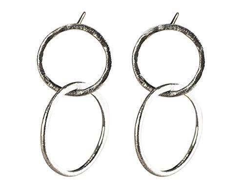 Pendientes de Oro 18k con Circunferencias Entrelazadas para Mujer - Pendientes de Plata con Aros Entrelazados para Novia (Chapado en plata)