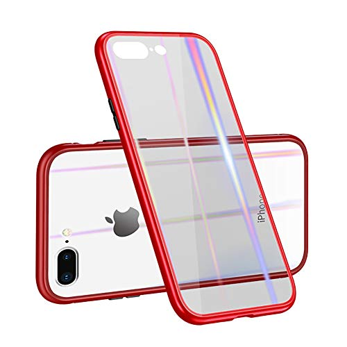 Hunterace - Carcasa de metal de adsorción magnética con tapa magnética integrada para iPhone X/7 Plus/8 Plus/6 Plus/6 (3 colores)