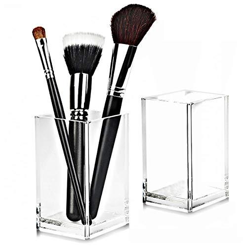 Etroshare 2 Pack Kosmetik Organizer Becher aus Acryl Stifteköcher Stiftehalter Stiftebox Make Up Aufbewahrung für Schminke,Stift(kristallklar durchsichtig)