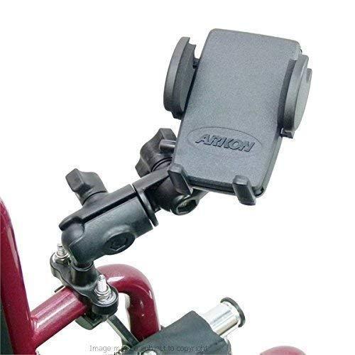 BUYBITS Rollstuhl U-Bolzen Halterung mit Doppel Steckdose Schwenkarm & Universal Handyhalter (SKU 21559)