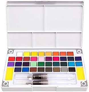 عبوة الالوان المائية الشفافة والصلبة بـ36 لونًا مائيًا للفرشاة وقلم الرسم والرسم الفني للطلاب