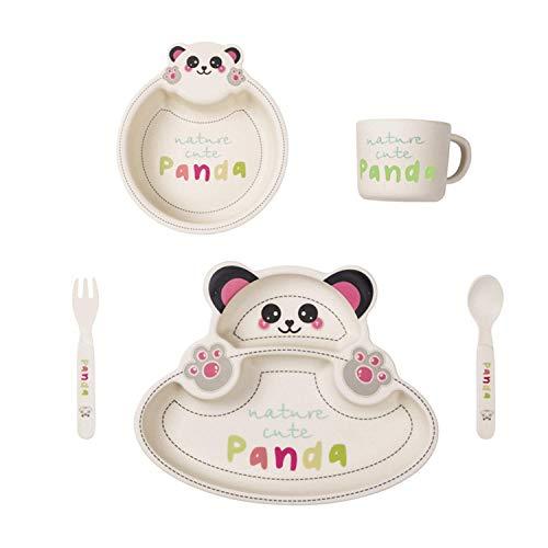 Set de Vaisselle Enfant,Set Repas Assiette Pour Bébé, Bambou vaisselle Garçons Filles, 5 Pièces/Set (Assiette Compartimentée, Bol, Tasse, Cuillère, Fourchette), Sans BPA,Forme de Panda