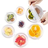 Silicone Stretch Lids, Reusable Silicone Lid Bowl Covers for food with Improved Grip Sealer with Platinum Food Grade Silicone, BPA free, 6 Pack of Various Sizes