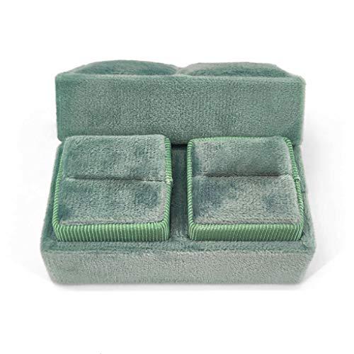 YUZI Caja de anillo doble de terciopelo cuadrilátero de boda ceremonia caja con tapa