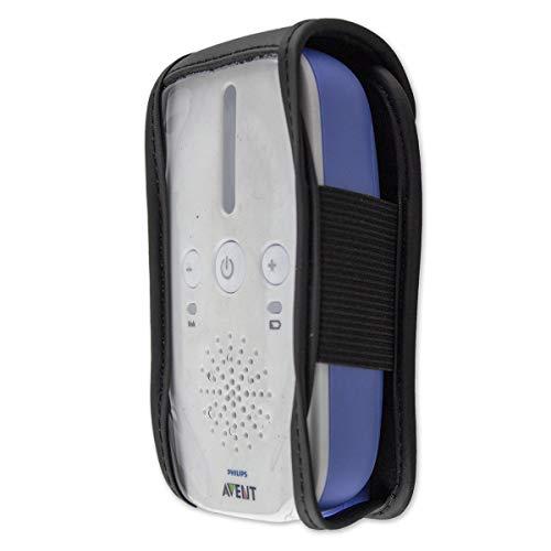 caseroxx Leren tas met riemclip voor Philips Avent SCD 501/00, 502/26, 503/26 uit echt leer, mobiele telefoonhoes voor riem (met venster gemaakt van vuilafstotende transparante film erin zwart)
