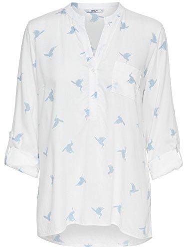 ONLY Damen Bluse Tunika Amazing Shallow L/S Birds TOP Schwalben Vögel Shirt Langarm zum Krempeln 3/4 Arm (34, Creme-weiß mit hellblau: Cloud Dancer/Skyway Birds)