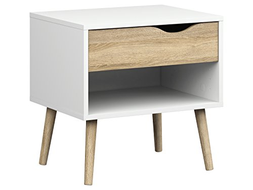 Tvilum Diana 1 Drawer Nightstand, White/Oak Structure