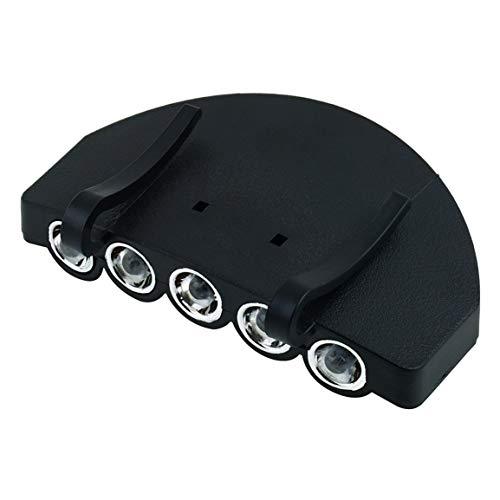 Bellaluee Lámpara de Cabeza práctica 5 LED Luz de Cabeza Pesca para Acampar al Aire Libre Caza Senderismo Sombrero Antorcha Gorra de Caza con Clip