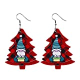 Geilisungren 1 Paar Damen Ohrhänger Weihnachten Mode Weihnachtsmann Schneemann Rentier Muster Weihnachtsbaum Leder Hängende Tropfen Ohrringe Schmuck Geschenk