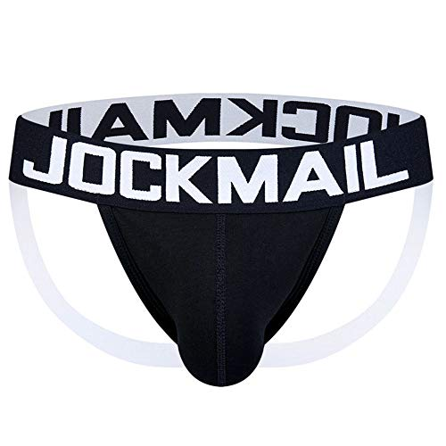 JOCKMAIL Male Underwear Mens G Strings Thongs Sexy String Homme Gay Underwear Jockstrap (L, Black)