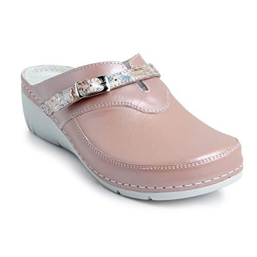 Batz Lisa Ligero y Flexible Zuecos Zapatillas Zapatos de Cuero Mujer, Nud, EU 38