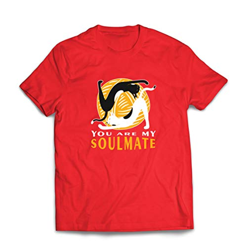 lepni.me Maglietta da Uomo Tu Sei Il Mio Anima Yoga Gatti Yoga Gemelli Fiamma Yin Yang (Small Rosso Multicolore)
