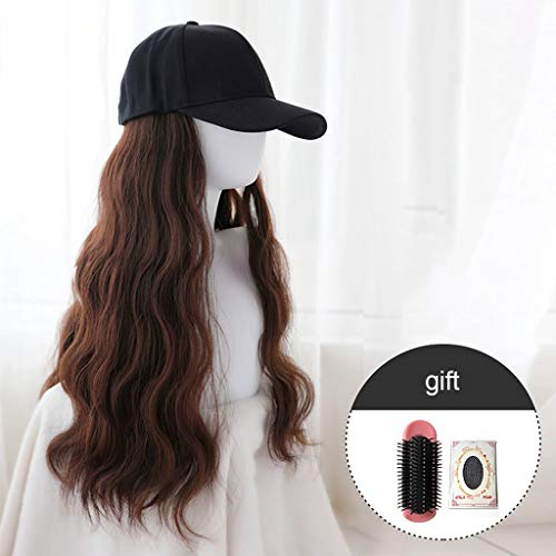 Yan qing shop Adjustable Black Baseball Cap with Long Wave Charms Hair Wig, Novelty Wig Caps with Synthetic Long Wavy Hair for Women (Color : Dark Brown)