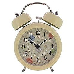 Konigswerk 3 Kids Loud Alarm Clock and Nightlight Twin Bell Alarm Clock Non-Ticking Quartz Analog Vintage (Yellow 3inch)