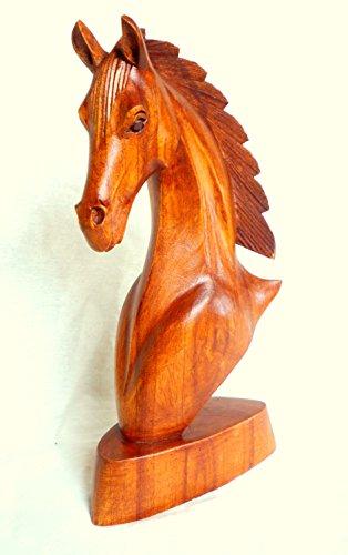 Caballo Busto Cabeza de caballo caballo escultura de madera figura madera tallada a mano 30x 16x 10cm