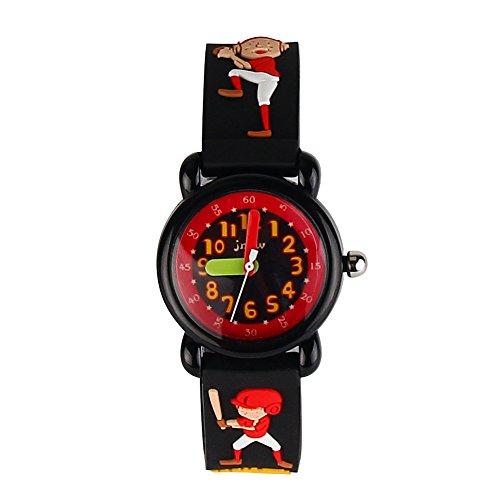 JIAN YA NA Jungen Uhr-wasserdicht 3D netten Karikatur-Entwurf-runde Vorwahlknopf-Silikon-Gummi-Gelee-Farben-Uhr-Band-Quarz-Armbanduhr Schwarz (Baseball ki
