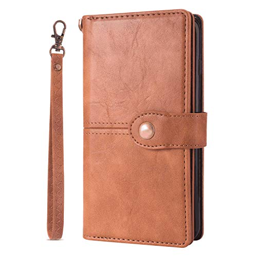 Buy Discount Leather Flip Case Fit for Samsung Galaxy S10, Kickstand Card Holders Premium Brown Wall...