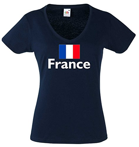 World-of-Shirt Damen T-Shirt France/Frankreich Trikot Navy M