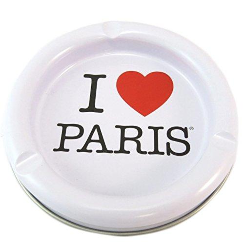 Les Trésors De Lily [P5322] - Aschenbecher metall 'I Love Paris' rot weiß - 13 cm.