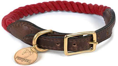 Puccybell Hundehalsband aus geflochtenem Seil und Leder, Nautisches Design, Tau Halsband für Hunde HB002 (M, Rot)