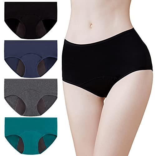 Momoshe Perioden Unterwäsche Damen 4er Pack Baumwolle Unterhosen Menstruation Panty Frauen Schwarz Dunkelgrau Marine Grün L