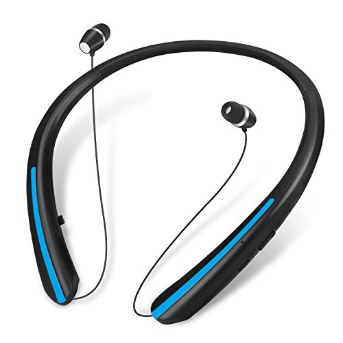 Bluetooth Headphones, Retractable Wireless Neckband Earbuds Earphone Stereo Headsets with...