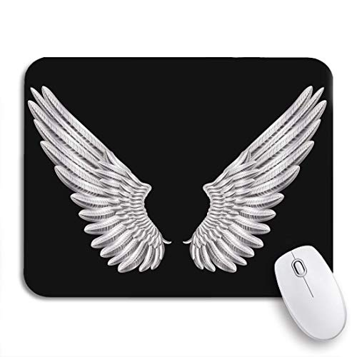 Gaming Mouse Pad Angel Silver Wings Metal Insignia Pigeon Raven Artificial Bird Nonslip Rubber Backing Mousepad for Notebooks Computers Mouse Mats