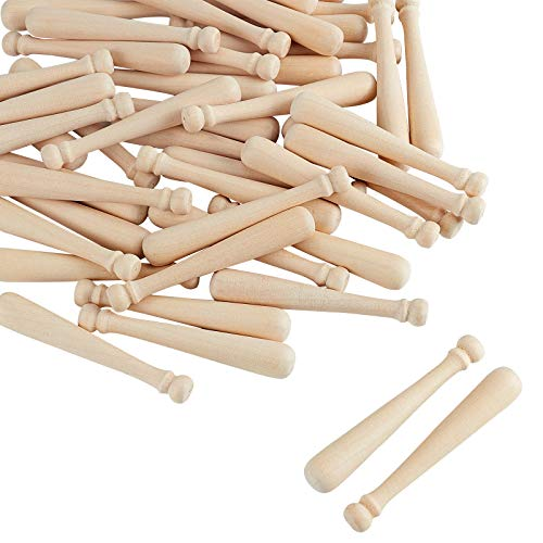 OLYCRAFT 60pcs Unfinished Mini Wooden Baseball Bats 3 Inch Half Drilled Natural Wood Baseball Bat Unpainted Baseball Bat Beads for Keychain Accessories, Action Figures, DIY Craft Projects