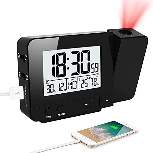 CAMPSLE Affichage LED projecteur réveil, rétro-éclairage alimenté par Batterie Rotation température humidité Horloge LED étagère de Bureau numérique Horloge pour la Maison Chambre décor