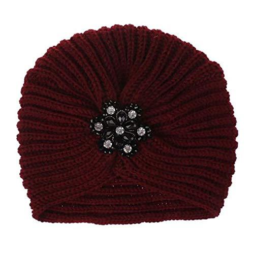 mebake Knitted hat Gorro de Punto de Invierno para Mujer, diseño de Turbante, Burgundy, Talla única