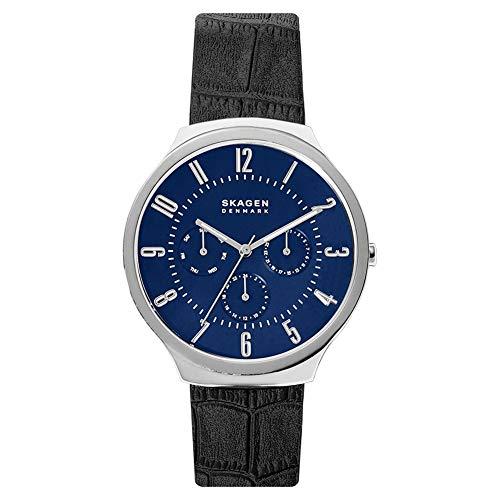 Skagen Herren Analog Quarz Uhr mit Echtes Leder Armband SKW6535