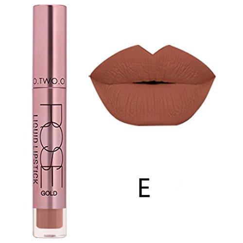 Familizo Gloss Matte Lot, Lèvres Mates Douces Liquides Gloss Lipstick Cosmetics 12 Couleurs (E, Taille: 11 * 2 * 2 cm)