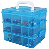 Bins & Things Stackable Toys Organizer Storage Case Compatible with BeyBlade, Hot Wheels, Lego Dimentions or Mini Toy Action Figures - Portable Adjustable Box w/Carrying Handle