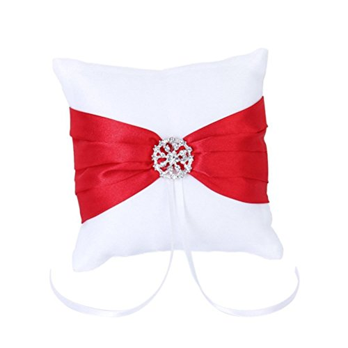 winomo 10* 10cm weiß rot Schleife Hochzeit Party Tasche Ring Kissen Kissen