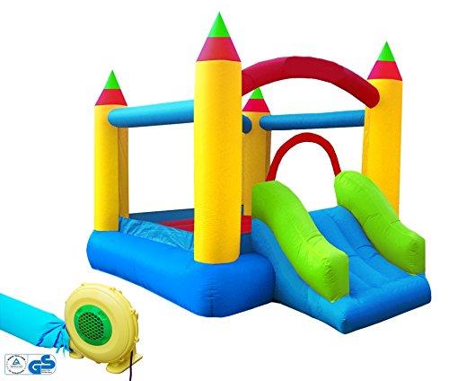 Hüpfburg XXL Kinder Indoor Outdoor mit Rutsche und Gebläse Jump House Komplett-Set aufblasbar...
