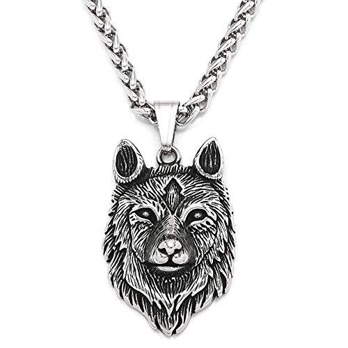 DFWY Collar con Colgante de Acero Inoxidable con Cabeza de Lobo Vikingo Fenrir para Hombres, Amuleto de Animal Pagano Nórdico, Joyería de Encanto Escandinavo (Size : 60CM)
