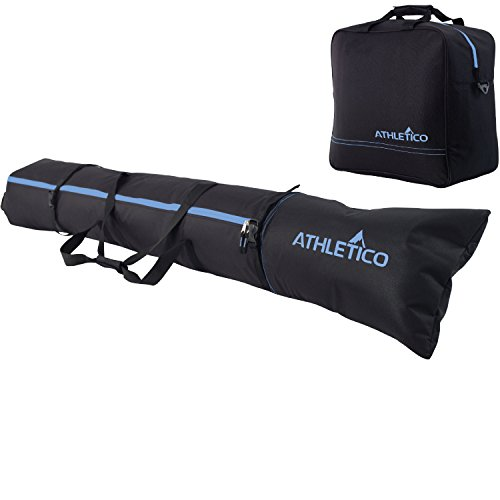 Athletico Padded Two-Piece Ski and Boot Bag Combo | Store & Transport Skis Up to 200 cm and Boots Up to Size 13 | Includes 1 Padded Ski Bag & 1 Padded Ski Boot Bag (Black with Blue Trim (Padded))