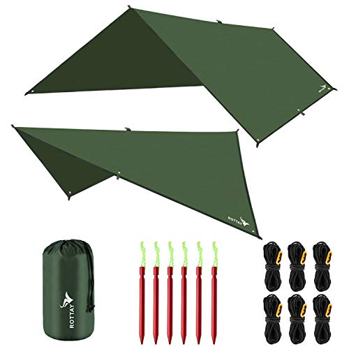 Rottay Waterproof Camping Tarp, Multifunctional Tent Footprint for Camping, Sunshade, Hiking, Survival Gear, Lightweight and Backpacking Approved, Multiple Colors and Size