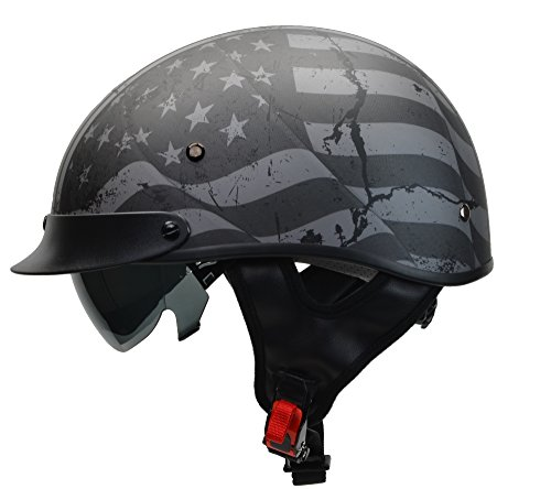 Vega Helmets Warrior Motorcycle Half Helmet with Sunshield for Men & Women, Adjustable Size Dial DOT Half Face Skull Cap for Bike Cruiser Chopper Moped Scooter ATV (Medium, Patriotic Flag Graphic)
