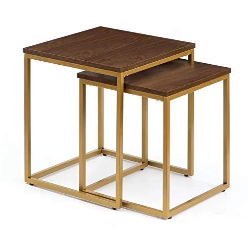 George Oliver Azriel 2 Piece Gold Frame MDF Walnut Top Nest of Tables