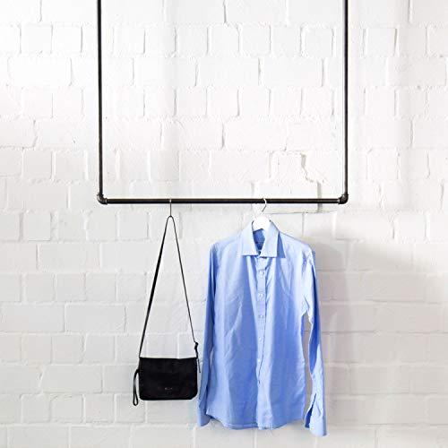 Various Kleiderstange Industrial Design für Deckenmontage - div. Größen, z.B. 100 x 100 cm - Garderobe für Jacken in U-Form von der Decke hängend - schwarz, Metall