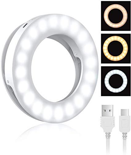 Anillo de luz para selfie, recargable, 3 tonos, luz de relleno para selfie, con 40 cuentas LED, anillo de luz de maquillaje para selfie, fotografía, transmisión en vivo