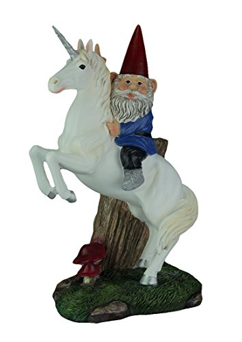 Magical Adventure Garden Gnome on Unicorn Lawn Figurine, 13 1/2 Inch